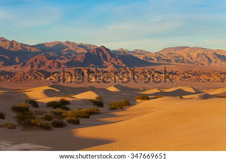 Landscape of sand dunes in Death Valley California