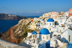 Landscape of Santorini Island, Greece. Santorini is one of the most popular islands for destination weddings and honeymoons.