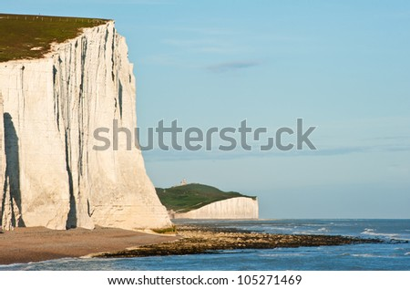 Stock Photo Landscape of Seven Sisters cliffs in South Downs National Park on English coast