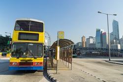 Landscape of Sheung Wan Bus Tetminal, near the Sheung Wan Ferry Terminal in Hong Kong Island.