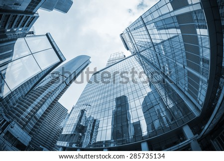 landscape of silhouettes of skyscrapers in the city. toning image. Focus on the tops of skyscrapers