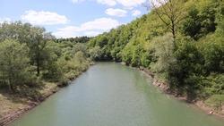 landscape of sina river in Poland