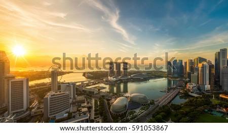 Landscape of Singapore city, Singapore stock photo