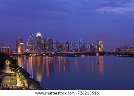 Landscape of Singapore skyline night light river bay view tourists travel attraction place #726213616