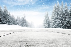 landscape of sky and trees of snow and road and free space for your decoration