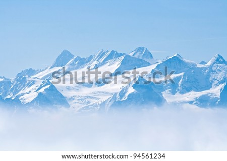 Landscape of Snow Mountain with Blue Sky from Pilatus Peaks Alps Lucern Switzerland #94561234