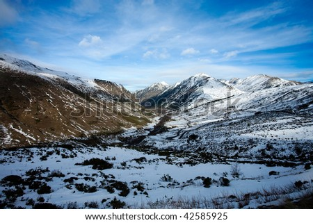 Landscape of snow mountains in Pirineos