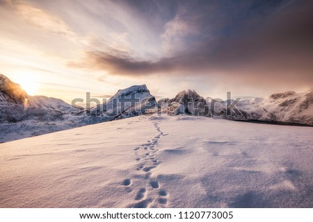 Landscape of snow mountains range with footprint on snowy at sunrise morning #1120773005
