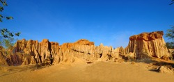 Landscape of soil textures eroded Sandstone pillars with blue sky at Sao Din Na Noi, Sri Nan National Park, Nan province, Thailand.
