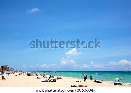 Landscape of South Beach in Miami Florida on a sunny summer day