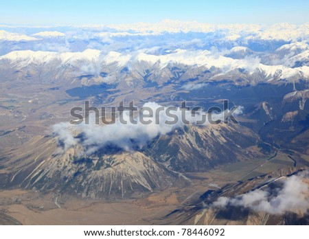 landscape of southern alpine alps New Zealand from top view