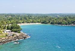 Landscape of Sri Lanka Indian ocean coastline, Ceylon. Horizontal image. View from Dondra Lighthouse in Matara