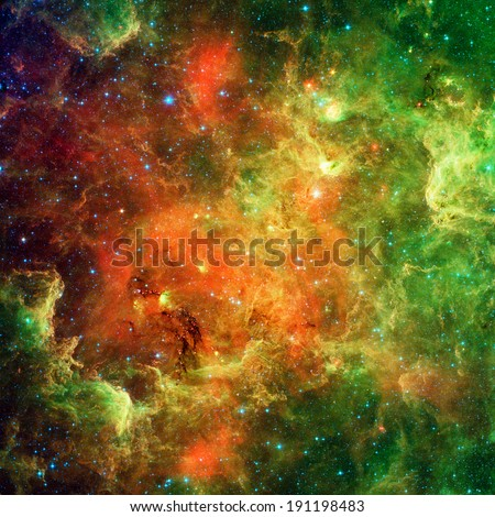 Landscape of star clusters (one million years old) known as the North American and Pelican Nebula (upper right) Retouched & cleaned version of original image from Spitzer Telescope - NASA/JPL-Caltech