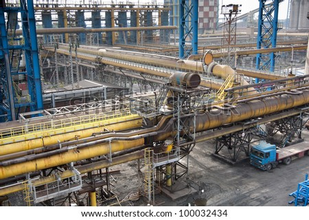 Landscape of steel plant - stock photo