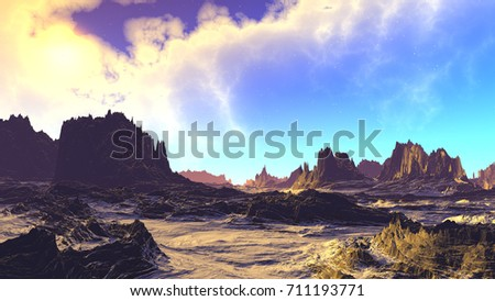 Landscape of stranger planet. Moon. 3D illustration  #711193771