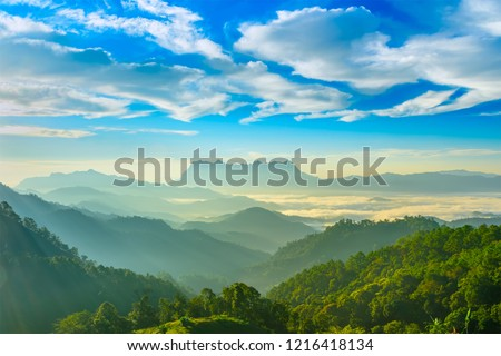 Landscape of sunrise on Mountain at Doi Luang Chiang Dao, ChiangMai ,Thailand #1216418134