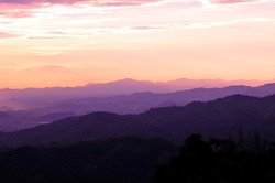 Landscape of sunrise over mountains in Thailand
