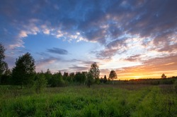 Landscape of sunset of summer field with green grass in evening twilight under blue sky with clouds in bright sunset light, colorful view of field in sunset dusk with trees silhouette