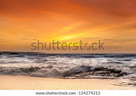 Landscape of sunset over the ocean in France