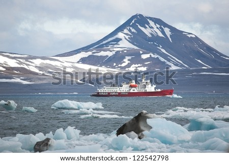 Landscape of the Arctic: ice, fjord, mountains