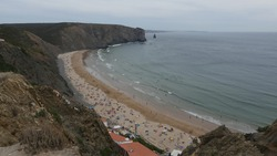 Landscape of the Arrifana Beach part of the Vicentine Coast Natural park in the District of Aljezur, Portugal.