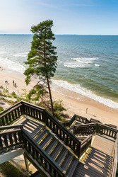 Landscape of the Baltic Sea with stairs from Kawcza Gora leading to the beach in Miedzyzdroje