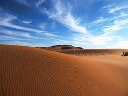 Landscape of the beautiful desert of Merzuga, Morocco.