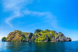 Landscape of the beautiful mountain cliff in the sea, El Nido province in Palawan island in Philippines