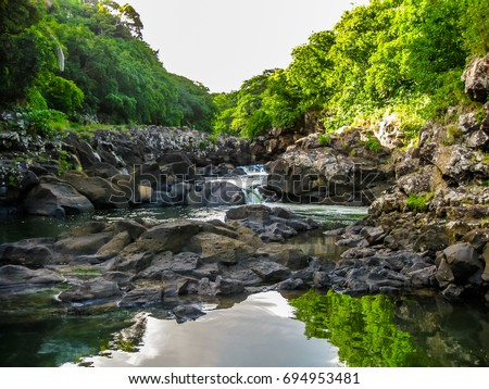 Landscape of the Black River Gorges National Park is the largest protected forest of Mauritius, Indian Ocean. Summer season.