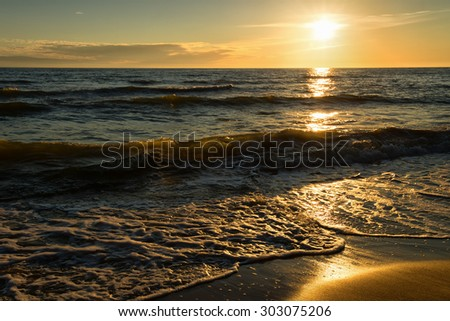Landscape of the evening sea. Sunset by the sea