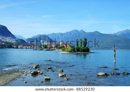 Landscape of the FIshermen Island, Lake Maggiore, Piedmont, Italy