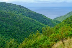 Landscape of the Fishing Cove, along the Cabot Trail, in Cape Breton island, Nova Scotia, Canada