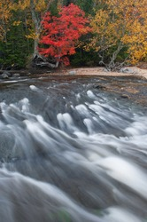 Landscape of the Hurricane River and the shoreline of Lake Superior at Pictured Rocks National Lakeshore, autumn, Michigan's Upper Peninsula, USA