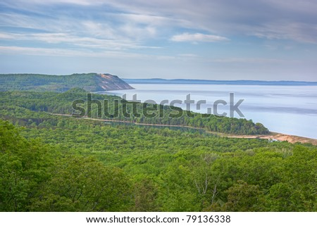 Landscape of the Lake Michigan shoreline with fog and North Bar Lake, Sleeping Bear Dunes National Lakeshore, Lake Michigan, Michigan, USA
