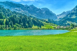 Landscape of the mountain lake and the Swiss Alps. Engelberg Resort