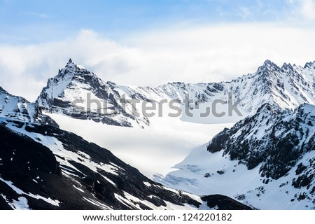 Landscape of the mountains covered with snow in South Georgia, British overseas territory, Southern Atlantic Ocean.