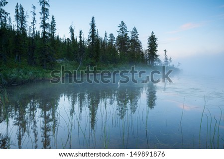 Landscape of the northern latitudes of the planet. Lake in the mist of the night in the Arctic Circle