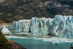 Landscape of the Perito glacier with icebergs floating on the lake. Moreno, Patagonia, Argentina