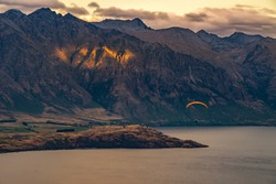 Landscape of The Remarkables and Lake Wakaitipu from viewpoint at Queenstown Skyline, New Zealand