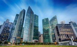 Landscape of the Singapore financial district and business building