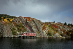 Landscape of the St. John's Newfoundland across from Quidi Vidi Brewery. It was autumn and an over cast day.