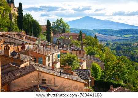 Landscape of the Tuscany seen from the walls of Montepulciano, Italy #760441108