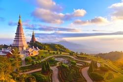Landscape of two pagoda (noppha methanidon-noppha phon phum siri stupa) in an Inthanon mountain, chiang mai, Thailand