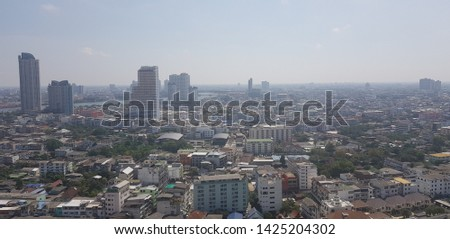 Landscape of urbanization, there are plenty of buildings among unclear scene.