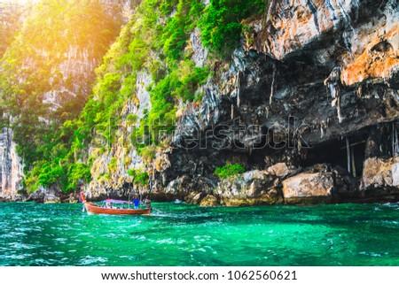 Landscape of Viking cave with longtail boat for traveler, Maya bay, Phi Phi island, Andaman sea, Krabi, near Phuket, Travel Thailand, Beautiful destination place Asia, Summer outdoor vacation trip