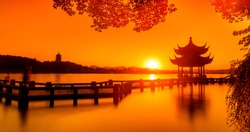 Landscape of West Lake(xihu)Hangzhou. Long Bridge and Leifeng Pagoda.the chinese word in photo means