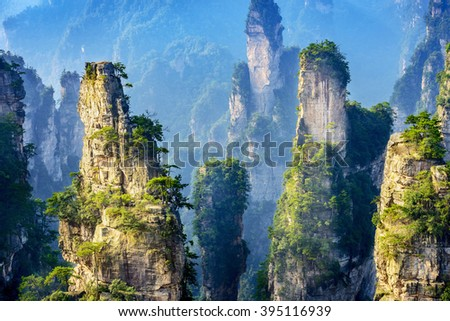 Landscape of Zhangjiajie. Located in Wulingyuan Scenic and Historic Interest Area which was designated a UNESCO World Heritage