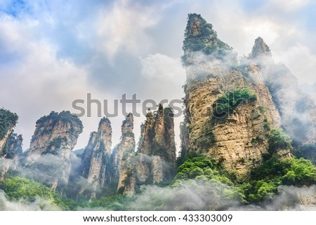Landscape of Zhangjiajie. Located in Wulingyuan Scenic and Historic Interest Area which was designated a UNESCO World Heritage Site as well as an AAAAA scenic area in china.