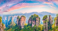 Landscape of Zhangjiajie. Taken from Yellow Stone Village (Huangshizhai). Located in Wulingyuan Scenic and Historic Interest Area which was designated a UNESCO World Heritage Site in china.