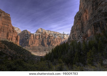 Landscape of Zion National Park, Utah, close to the Grand Canyon